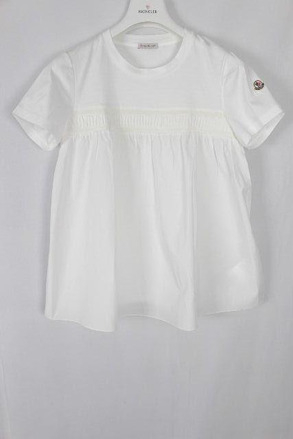 モンクレール [ MONCLER ] 17ss ワッペン フリル カットソー ホワイト 半袖 SIZE[XS] レディース トップス プルオーバー シャツ ブラウス Tシャツ