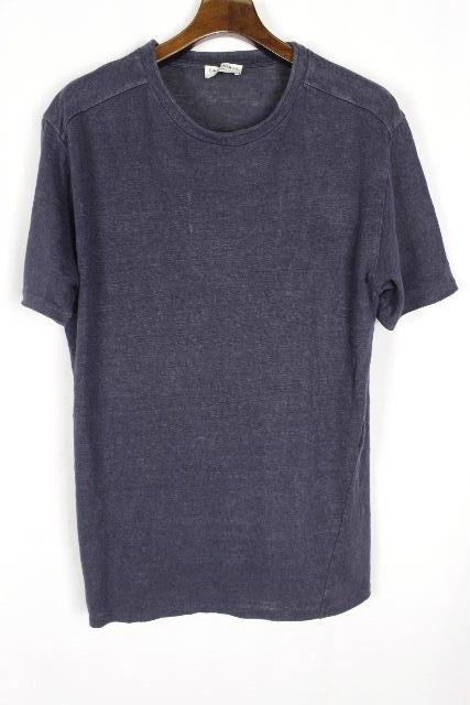 バレンシアガ [ BALENCIAGA ] リネン ライン カットソー ネイビー 紺色 半袖 SIZE[L] メンズ トップス ニットソー 麻