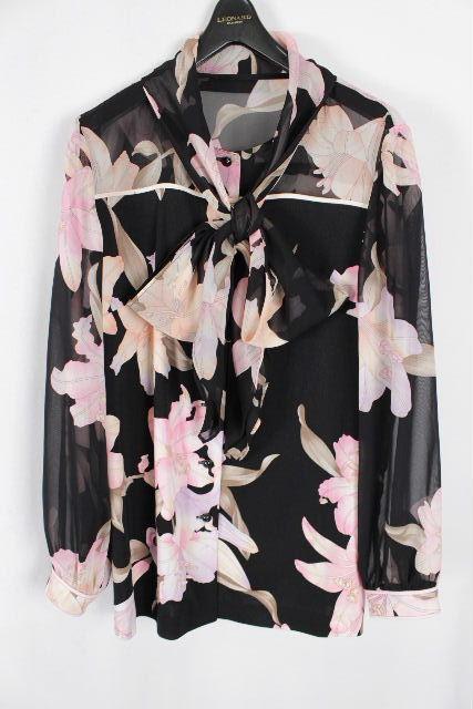レオナール [ LEONARD ] フラワー リボン ブラウス ブラック 黒 長袖 SiZE[40] レディース トップス シャツジャケット 花柄