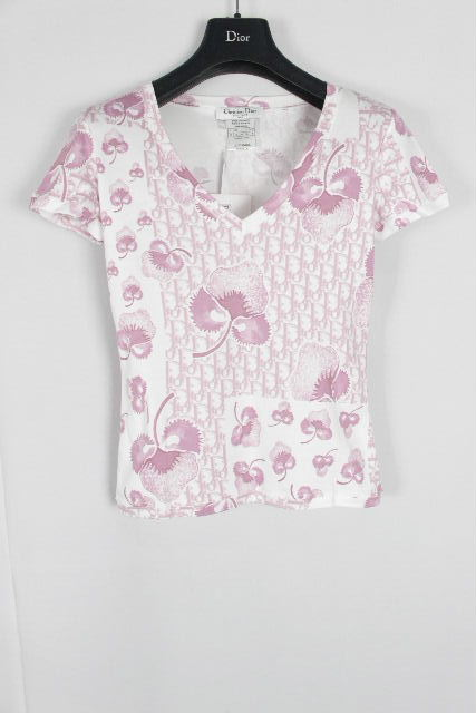 クリスチャンディオール [ Dior ] ストロベリー トロッター柄 Vネック Tシャツ ホワイト 半袖 レディース ディオール トップス カットソー