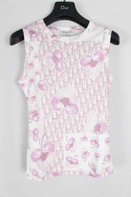 クリスチャンディオール [ Dior ] ストロベリー トロッター柄 ノースリ Tシャツ ホワイト 半袖 レディース ディオール トップス カットソー