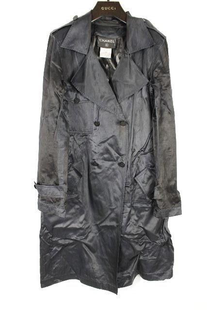 シャネル [ CHANEL ] 01P ベルト トレンチコート ネイビー 紺色 SIZE[34] レディス アウター スプリングコート ロングジャケット