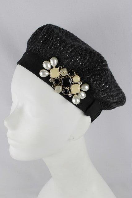 シャネル [ CHANEL ] パール リボン ビジュー ウール ベレー帽 ブラック 黒SIZE[M] レディース キャスケット帽 帽子