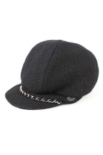 シャネル [ CHANEL ] チェーン キャスケット帽子 ブラック 黒 SIZE[M] レディース ハット 帽子