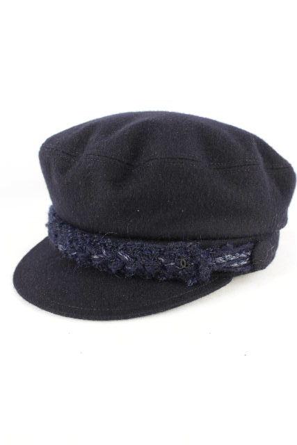 シャネル [ CHANEL ] ココマーク ウール キャスケット帽子 ネイビー 紺色 SIZE[M] レディース ハット