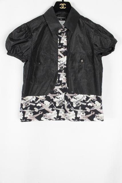 シャネル [ CHANEL ] 06P 夜間飛行シリーズ シルク ブラウス 半袖 SIZE[36] レディース トップス シャツ ジャケット ブラック 黒