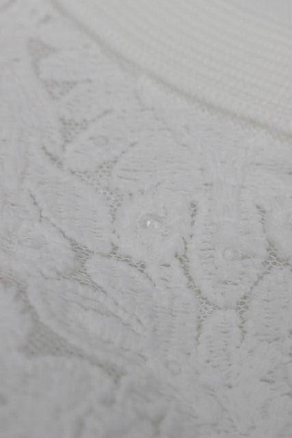 コトゥー [ COTOO ] ノーカラー レース ジャケット ホワイト 半袖 SIZE[38] レディース ストレッチ ボレロ カーディガン トップス