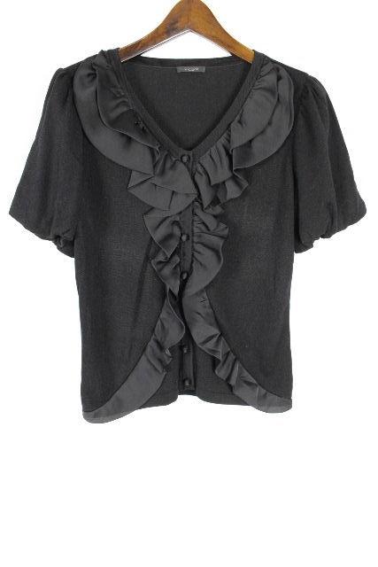 コトゥー [ COTOO ] フリル ニット カットソー ブラック 黒 半袖 SIZE[38] レディース トップス セーター ニットソー