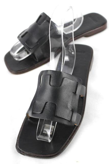 エルメス [ HERMES ] Hロゴ レザー サンダル ブラック 黒 SIZE[42] メンズ サンダル 26cm 26.5cm 27cm 27.5cm相当(目安)