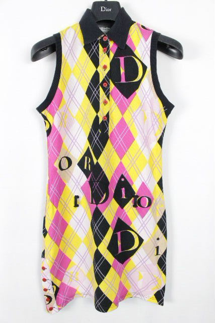 クリスチャンディオール [ Dior ] Dロゴ ベルト 鹿の子 ポロシャツ ワンピース レディース ディオール ワンピ