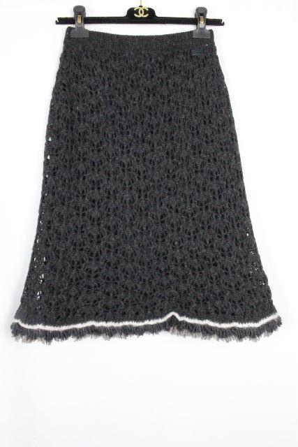 シャネル [ CHANEL ] 00A カシミヤ フレアースカート グレー系 SIZE[36] レディース ボトムス セーター ニット スカート