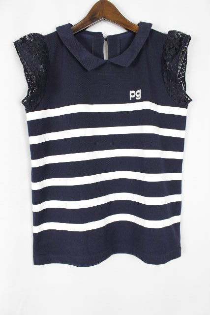 パーリーゲイツ [ PEARLY GATES ] PGロゴ レース ボーダー 鹿の子 ポロシャツ ネイビー SIZE[0] レディース トップス カットソー 紺色