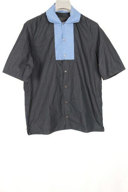 プラダ [ PRADA ] バイカラー カジュアルシャツ ネイビー 半袖 SIZE[37/14.5] メンズ トップス シャツ