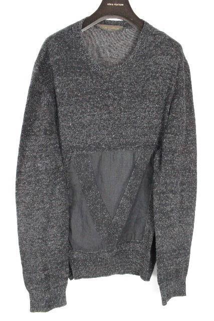 ルイヴィトン [ LOUISVUITTON ] 15ssガストン リネン サマーニット ブラック グレー SIZE[XL] メンズ ヴィトン ビトン トップス セーター 麻