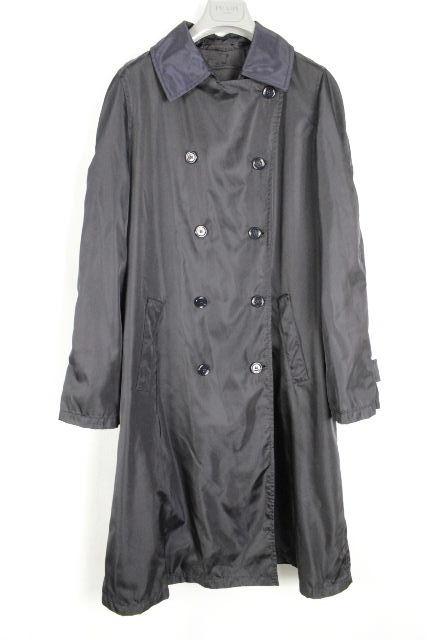 プラダ [ PRADA ] ナイロン トレンチコート ネイビー 紺色 SIZE[L] メンズ スプリングコート コート
