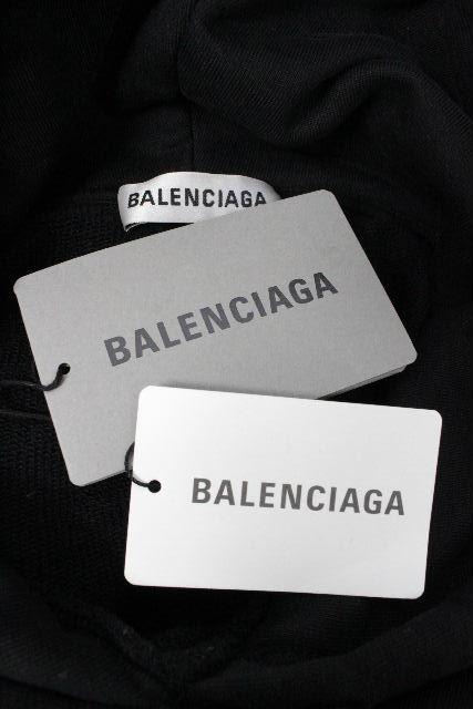 バレンシアガ [ BALENCIAGA ] 2019 ロゴ プルオーバー パーカー ブラック TBV14 SIZE[L] メンズ トップス フード トレーナー 黒