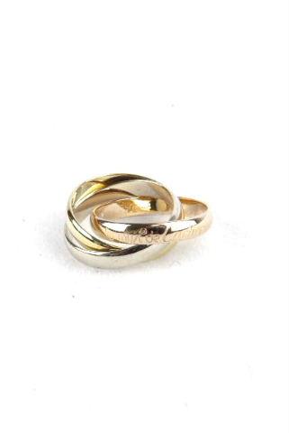 カルティエ [ Cartier ] トリニティリング K18YG×K18WG SIZE[8号] レディース 3連 指輪 付属品完備 ★重量6.2g★
