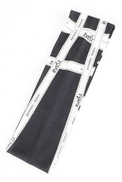 エルメス [ HERMES ] リボン柄 シルクジャージ ヘアバンド ブラック 黒 レディース ヘアアクセサリー ヘアゴム