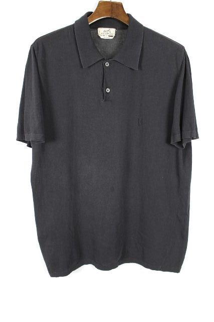 エルメス [ HERMES ] Hロゴ 鹿の子 ポロシャツ ブラック 黒 半袖 SIZE[L] メンズ トップス カットソー
