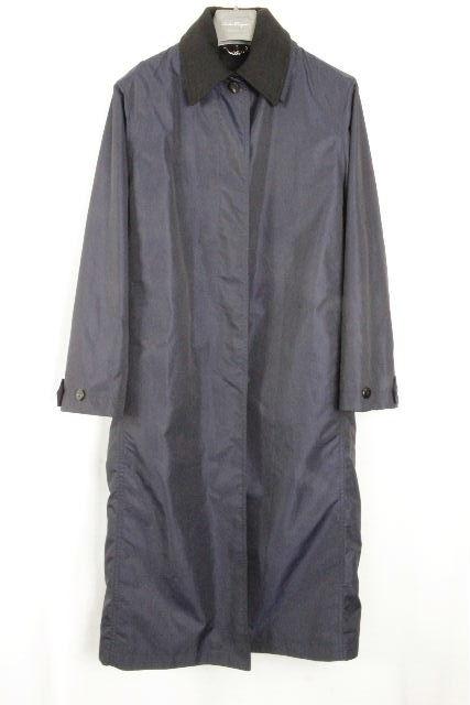 フェラガモ [ Ferragamo ] カシミヤ混 ライナージャケット付 ロングコート 紺×黒 レディース アウター ロングジャケット ブラック ネイビー