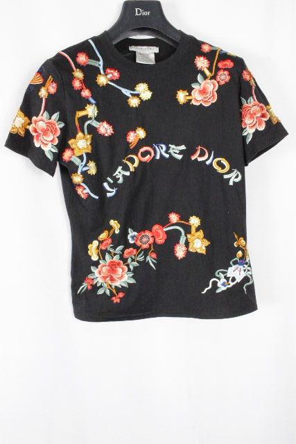 クリスチャンディオール [ ChristianDior ] フラワー 金魚 ししゅう Tシャツ ブラック 黒 半袖 レディース ディオール カットソー 花柄