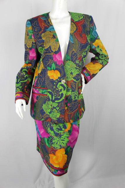 レオナール [ LEONARD ] フラワー セットアップ スーツ SIZE[13AR] レディース ジャケット スカート 花柄