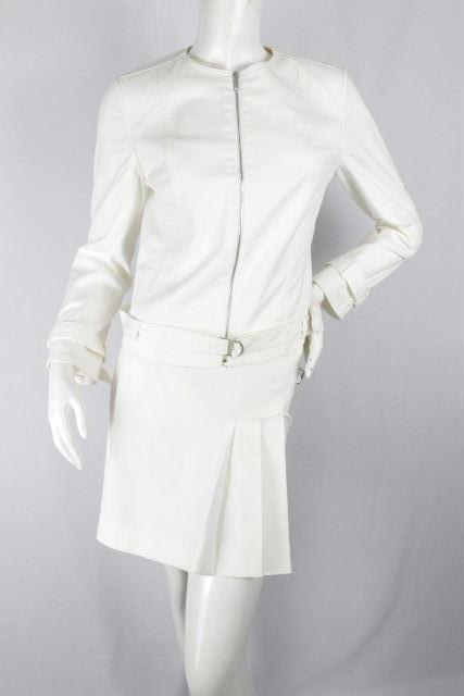 クリスチャンディオール [ ChristianDior ] Dロゴ セットアップ スーツ ホワイト 白 レディース ディオール ノーカラー ジャケット ミニスカート