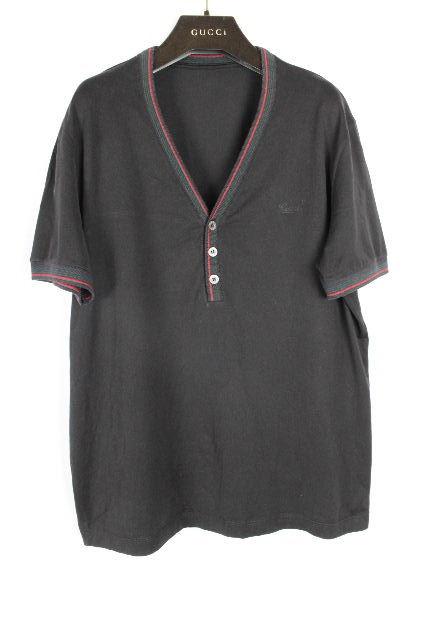 グッチ [ GUCCI ] シェリー ロゴ ヘンリー Tシャツ ブラック 半袖 SIZE[M相当] メンズ トップス カットソー