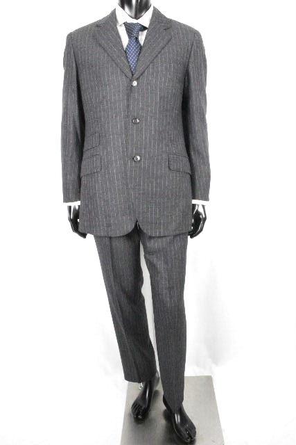 エルメス [ HERMES ] ストライプ 3B シングル スーツ グレー SUPER 110S SIZE[48] メンズ ジャケット スラックスパンツ