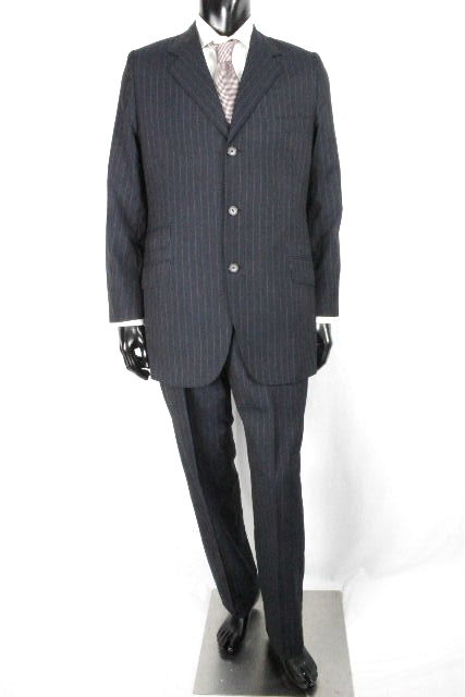 エルメス [ HERMES ] ストライプ 3B シングル スーツ ネイビー SIZE[50] メンズ ジャケット スラックスパンツ 紺色