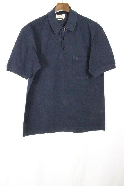エルメス [ HERMES ] Hロゴ ポケット 鹿の子 ポロシャツ ネイビー 半袖 SIZE[M] メンズ トップス カットソー