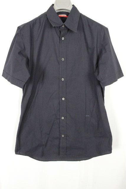 プラダスポーツ [ PRADA SPORT ] ロゴ カジュアルシャツ ネイビー 紺色 半袖 SIZE[39] メンズ プラダ トップス シャツ
