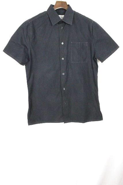 エルメス [ HERMES ] Hロゴ カジュアルシャツ ブラック 黒 半袖 SIZE[40 15・3/4] メンズ トップス ポケット シャツ