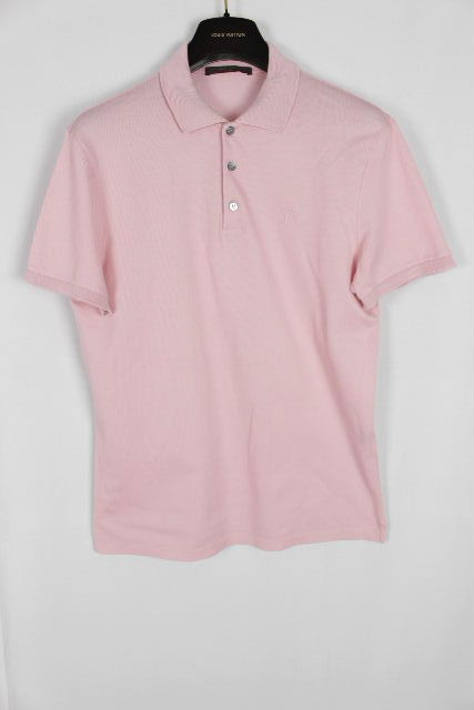 ルイヴィトン [ LOUISVUITTON ] LVロゴ 鹿の子 ポロシャツ ピンク 半袖 SIZE[M] メンズ ヴィトン ビトン トップス シャツ カットソー