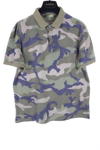 ヴァレンティノ [ VALENTINO ] スタッズ カモフラ ポロシャツ ネイビー 紺 半袖 SIZE[L] メンズ バレンチノ トップス カットソー Tシャツ 迷彩柄