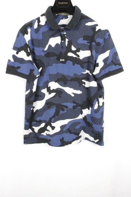 ヴァレンティノ [ VALENTINO ] スタッズ カモフラ ポロシャツ ネイビー 紺 半袖 SIZE[L] メンズ ヴァレンチノ トップス カットソー Tシャツ 迷彩柄
