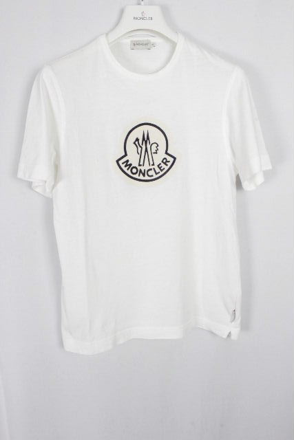 モンクレール [ MONCLER ] デカワッペンプリント Tシャツ ホワイト 白 半袖 SIZE[S] メンズ トップス カットソー