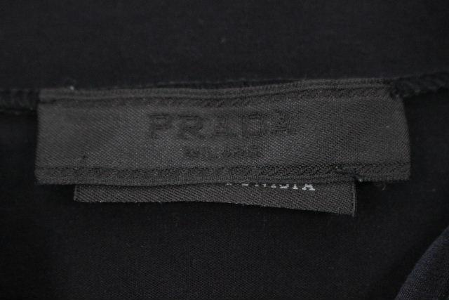 プラダ [ PRADA ] ロゴ ジップアップ ストレッチ カットソー ブラック SIZE[M] メンズ トップス ロンT Tシャツ ブラック 黒 長袖