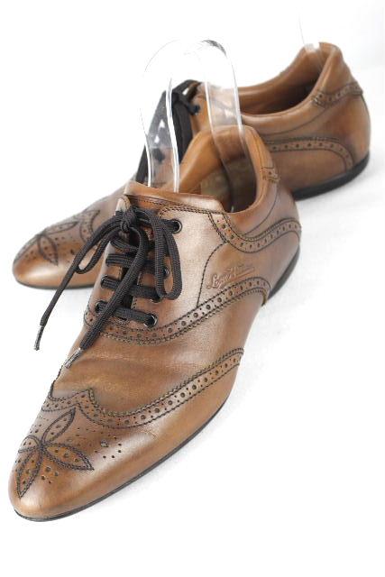 ルイヴィトン [ LOUISVUITTON ] ロゴ レザー スニーカー ブラウン 茶色 SIZE[7.5] メンズ ヴィトン ビトン シューズ 革靴 26cm 26.5cm
