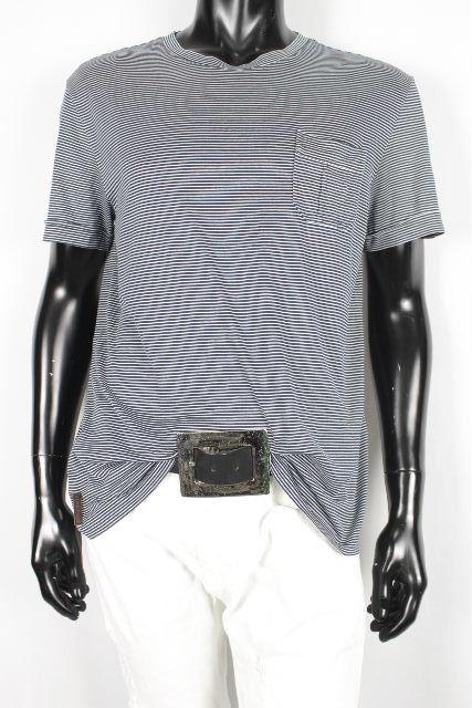 プラダスポーツ [ PRADA SPORT ] ロゴ ボーダー カットソー ネイビー 紺色 半袖 SIZE[L] メンズ プラダ トップス ポケット Tシャツ