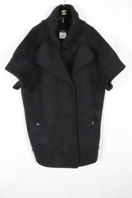 シャネル [ CHANEL ] P47 カシミヤ混 ニット コート ブラック 黒 SIZE[42] レディース ロングジャケット