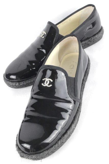 シャネル [ CHANEL ] ココマーク パテント オペラシューズ ブラック 黒 SIZE[37.5] レディース フラットシューズ ローファー エナメル
