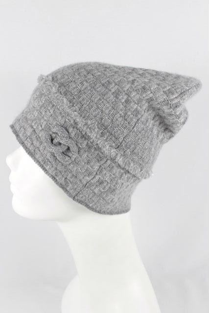 シャネル [ CHANEL ] カシミヤ ココマーク ニット帽 グレー レディース メンズ 帽子