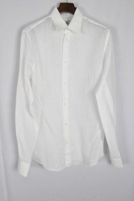 エルメス [ HERMES ] リネン セリエ カジュアルシャツ ホワイト 長袖 SIZE[38/15] メンズ トップス シャツ 白 麻