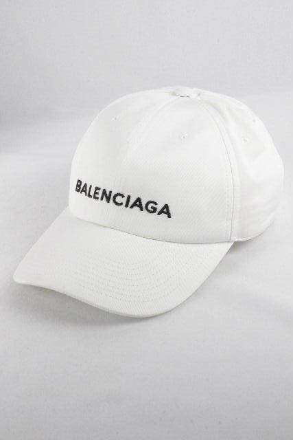 バレンシアガ [ BALENCIAGA ] ロゴ コットン キャップ ホワイト 白 SIZE[L 58] メンズ レディース 帽子 帽