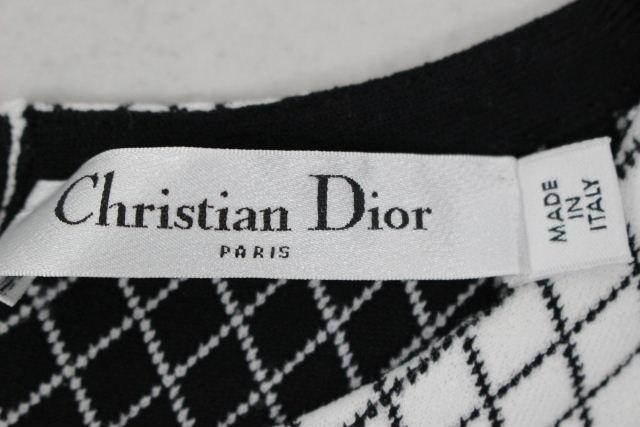 クリスチャンディオール [ ChristianDior ] 格子柄 フレアー ワンピース ホワイト 白 レディース ディオール ワンピ