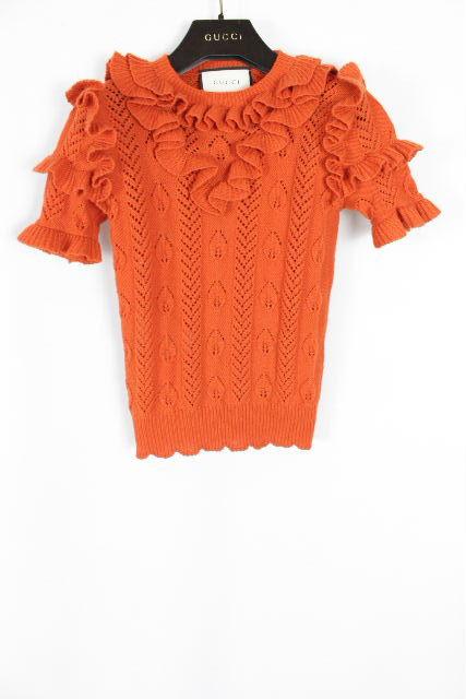 グッチ [ GUCCI ] 16-17AW ★新タグ★ フリル ニット オレンジ系 SIZE[XS] レディース トップス セーター 半袖