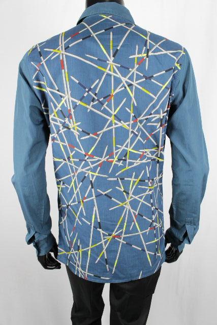 エルメス [ HERMES ] セリエ スカーフ カジュアル コットン シャツ SIZE[15/38] メンズ トップス ブルー 青色 長袖