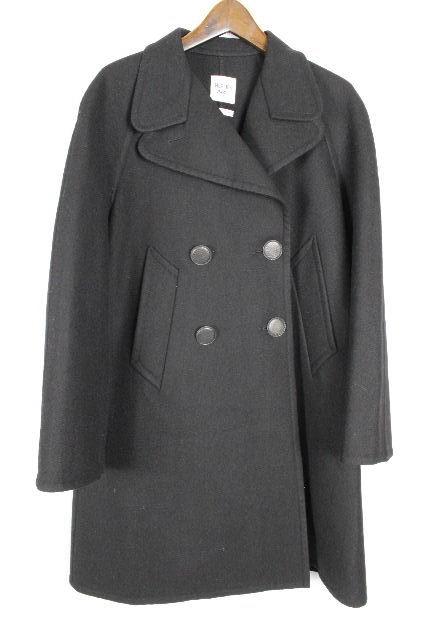 エルメス [ HERMES ] レザー カシミヤ ウール コート ブラック 黒 SIZE[34] レディース トップス ニット ロングジャケット