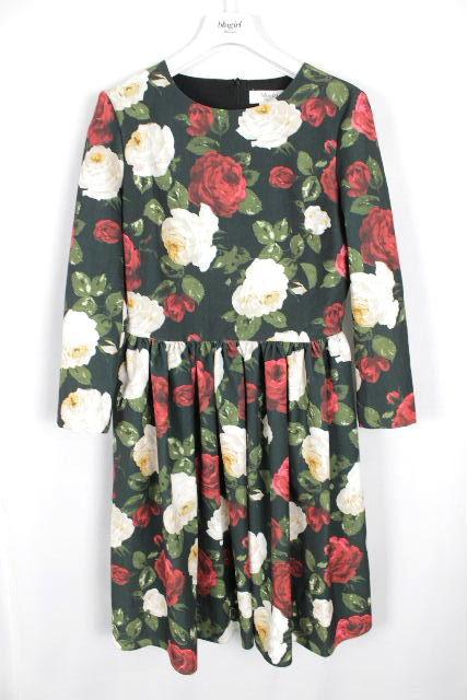 ブルーガール / ブルマリン [ Blugirl ] 薔薇柄 フレアーワンピース ブラック 黒 レディース フラワー ワンピ バラ柄 花柄
